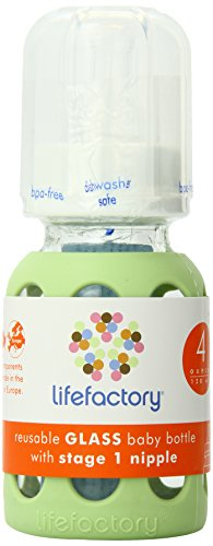 Lifefactory 4-Ounce Glass Baby Bottle with Silicone Sleeve and Stage 1 Nipple, Spring Green