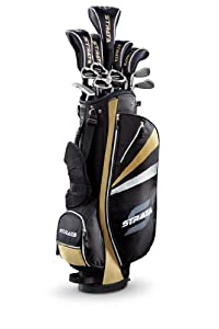 Strata Plus Men's Complete Golf Set with Bag, 18-Piece (Right Hand, Gold, Driver, Fairways, Hybrids, Irons, Putter)