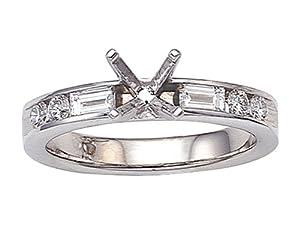 Karina B Baguette Diamonds Engagement Ring Platinum 950 Size 7