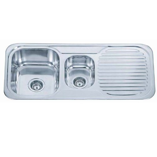 Kitchen Sinks Inset 1.5 Bowl Polished Finish With Drainer And Full Waste Kit (E01 mr)