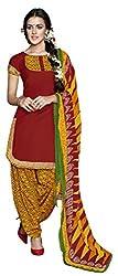 Parinaaz fashion Red SUNHERI Crepe Patiyala Dress Material