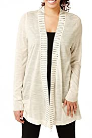 M&S Collection Open Front Studded Cardigan with Linen [T38-2847-S]