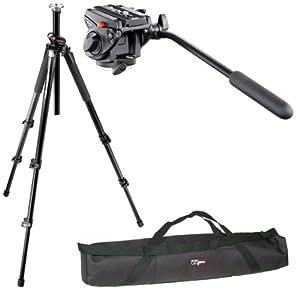 Manfrotto 055XPROB/701HDV Professional Video Tripod Kit and a Vidpro 35