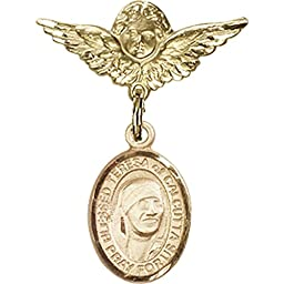 Gold Filled Baby Badge with Blessed Teresa of Calcutta Charm and Angel w/Wings Badge Pin 1 X 3/4 inches