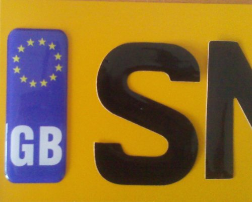 GB with EU Flag Raised Car Number Plate Sticker Euro Badge 1.5