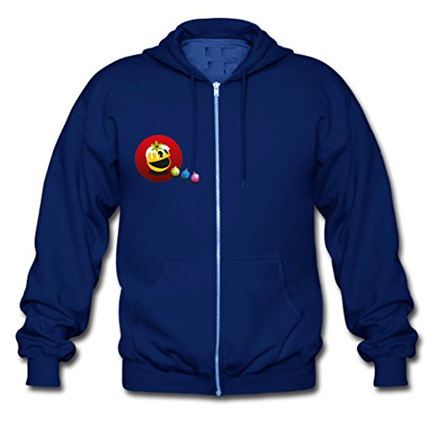 LARger pac-man Custom Gildan Full Zip Hooded Sweatshirt MediumBlue (NEW) XL