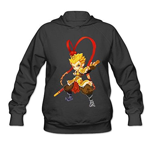 PHOEB Womens Sportswear Drawstring Hooded Sweatshirt,The Monkey King Black Large