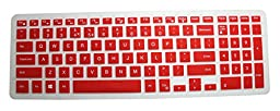CaseBuy Keyboard Silicone Cover Protector Skin for Dell Inspiron 15 3000 5000 i3541 15-3542 15-3543 15-3551 15-3552 15-3558 15-5545 15-5547 15-5548 15-5555 15-5558 15-5559 15-7559 17-5748 17-5749 17-5755 17-5758 17-5759 US Layout(Red)