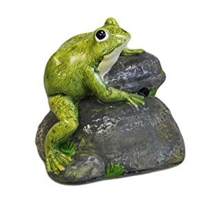 Motion Activated Real Sound Croaking Frog On Rock Garden