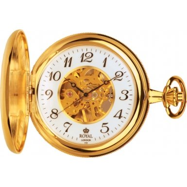 Royal London Pocket Watch 90004-01 Gold Plated Double Hunter