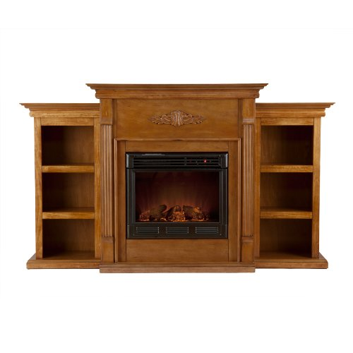 SEI AMZ3458E Tennyson Glazed Pine Electric Fireplace with Bookcases picture B009L1T9MY.jpg
