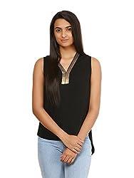 Mayra Women's Crepe Top (1604T09378_XL Black )