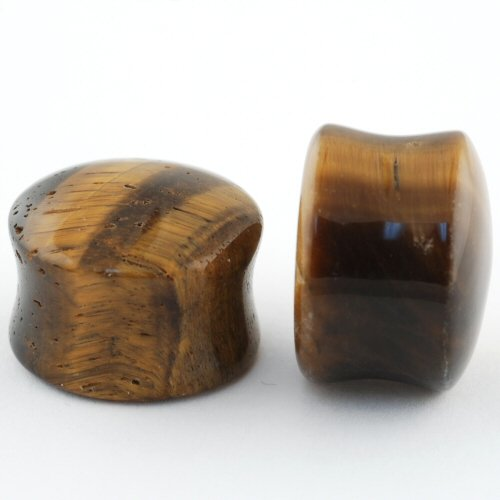 Pair of Yellow Tiger's Eye Stone Double Flared Domed Plugs: 5/8