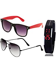 BLACK RED WAYFARER SUNGLASSES AND HALF BLACK AVIATOR SUNGLASSES WITH TPU BAND RED LED DIGITAL BLACK DIAL UNISEX...
