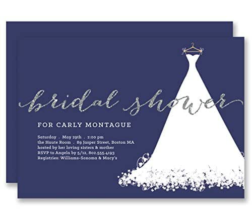 Silver Wedding Invitations Amazon: Amazon.com: Navy Bridal Shower Invitations Wedding Dress
