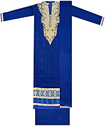 Maria Collection Women's Unstitched Dress Material (Blue)