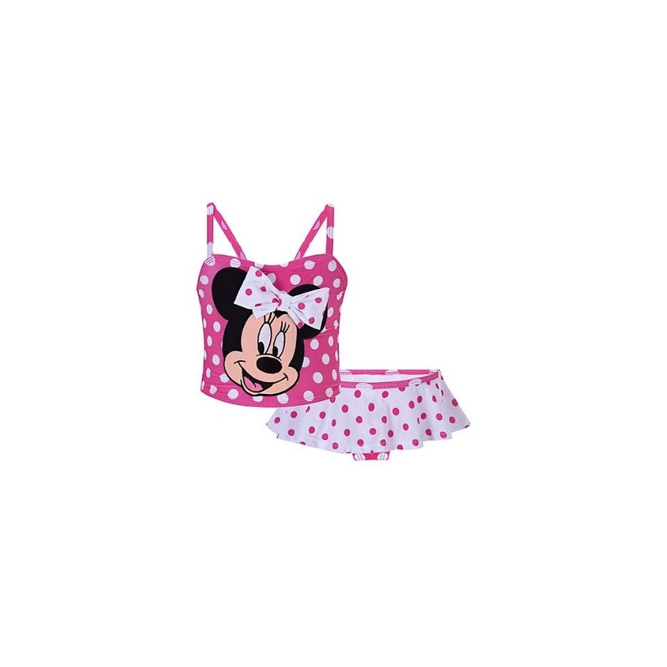 Minnie Mouse Pink and White Polka Dot Swimsuit 2 Piece Tankini/Bikini Bathing Swim Suit Size 5T for Toddler Girls