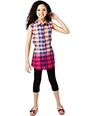 2 Piece Cotton Rich Checked Shirt Tunic & Leggings Outfit