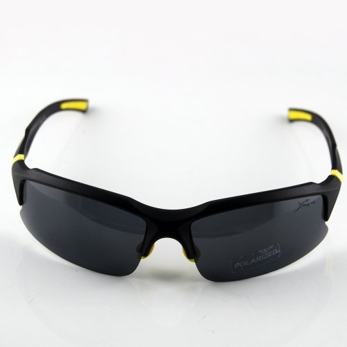 THG Comfortable Smoked Shatterproof PC Lens Sunglasses for Golf Running Cycling Fishing with Black Case UV400 Polarised TR90