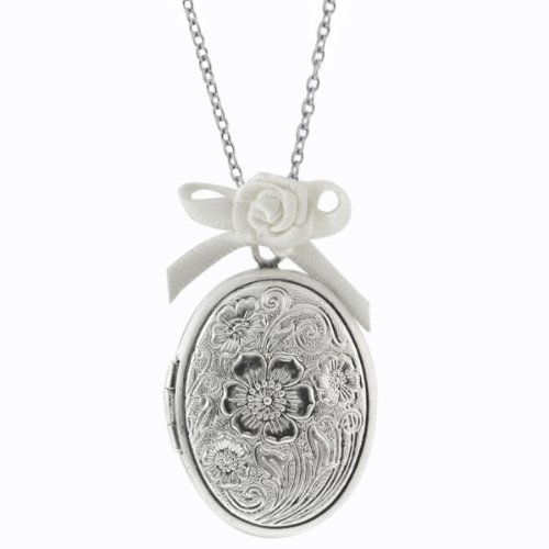 Stunning 30mmx23mm Silver Color Oval Shape Flower Engraved Locket With 36