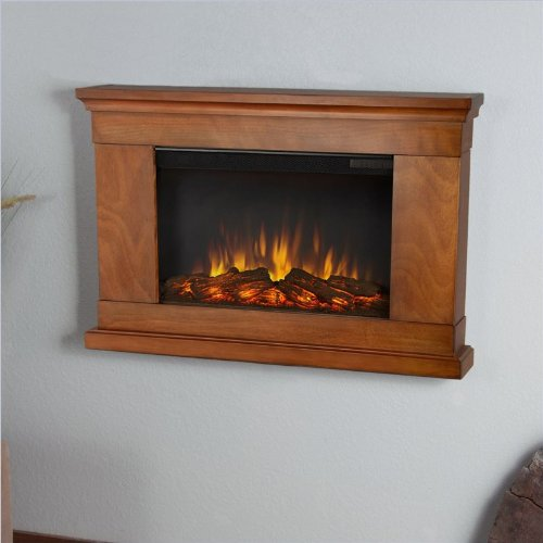Real Flame Jackson Slim Line Wall Hung Electric Fireplace - Pecan picture B00G7JCX9Y.jpg