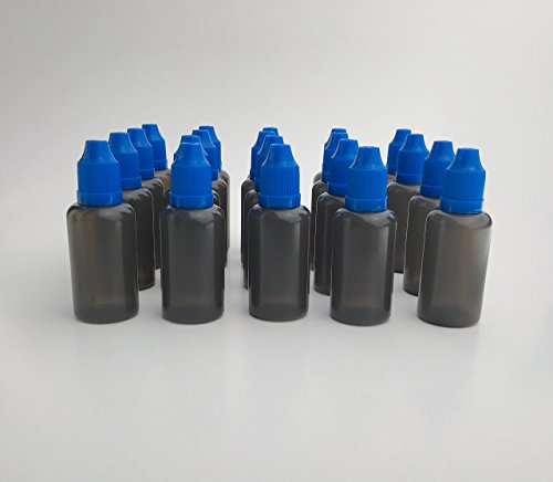 U-Need-A-Bottle (20) Pack Black Plastic Bottles 30 ml (1 oz) - BPA FREE - LDPE PE - EASY SQUEEZE Squirt Liquid Dropper, Small Empty ROUND Travel Size, Best For Essential Oils Childproof Cap (BLUE) (Organic Ejuice compare prices)