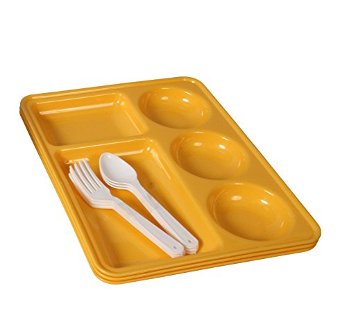 Ruchi Five Partition Square Plates With Fork and Spoon, 9 Pieces, Yellow