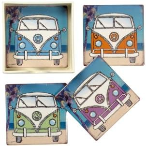 Set Of 4 Ceramic Tile Vw Camper Van Coasters