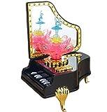 AnesZakka グランド ピアノ LED クリスタル 回転 バレリーナ ミュージック トイ (ブラック)