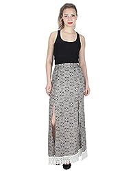 Miway Women's Print Viscose Black & White Skirt (Black & White, 32)