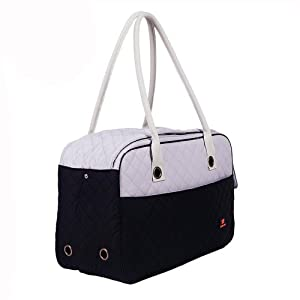 Dodopet 2 Size Pet Carrier Soft Sided Cat Dog Comfort Travel Tote Bag Hand bag Airline Approved (Black, Small:15.7