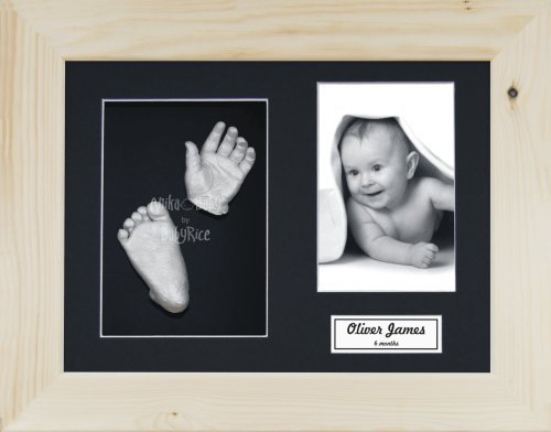 New 3D Baby Casting Kit Christening Maternity Present Gift Solid Oak Display Box