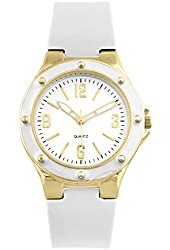 Women's Gold and white silicone watch with screw detailed bezel