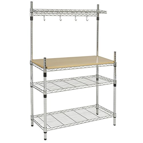 Best Choice Products Kitchen Storage Bakers Rack Chrome & Wood W/ Top Shelf Pan Hanger Cookware (Shelf For Pots And Pans compare prices)