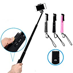 Selfie Stick,Paladineer Extendable Integrated Self Portrait Wireless Bluetooth Remote Camera Shooting Shutter Monopod Selfie Handheld Stick Pole With Carabiner And Charging Cable(For Free) Specially designed for IOS And Android System Mobile Cell Phone Fi