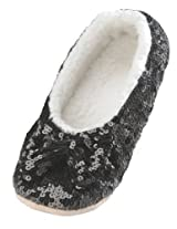 Snoozies Women's Ballerina Metallic Shine Sequin Slippers