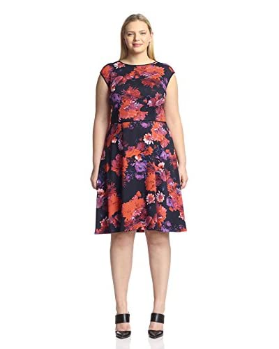 London Times Plus Women's  Fit and Flare Dress