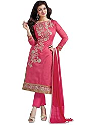 Vaankosh Fashion Womens Pink Chanderi Cotton Salwar Suit Dress Materials