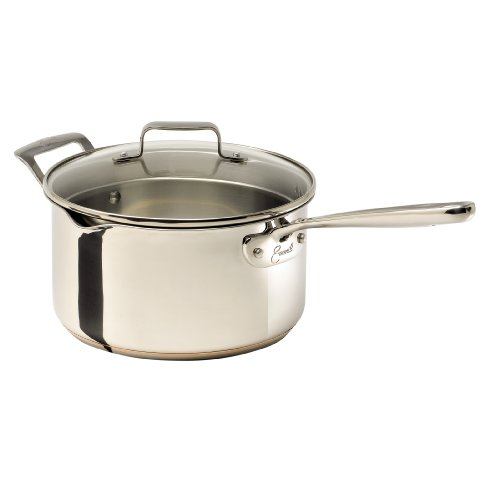 Emeril Stainless Steel with Copper Dishwasher Safe Sauce Pan with Pour Spouts and Lid Cookware, 4-Quart, Silver (Lagasse Cookware compare prices)