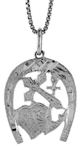 Sterling Silver Hope, Faith and Charity Pendant, 7/8 inch