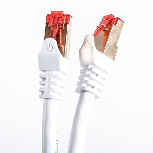 Duronic Câble FTP Ethernet CAT6a 20m blanc - Connecteurs en plaqué Or - Premium qualité - Très Haute Vitesse 500MHz pour modem, routeur, LAN