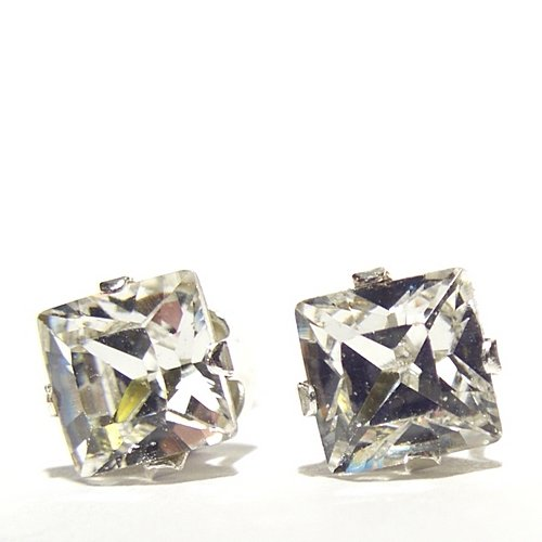 925 Sterling Silver Stud Earrings set with Square 6mm Swarovski Crystal Stones. Gift Box. Beautiful jewellery for very special people.