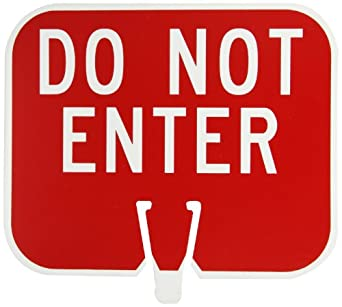 "Brady 80117,  Do Not Enter(Cone Sign) , 10 1/2"" Height x 12 3/4"" Width, White on Red, Legend ""Do Not Enter""  (1 per Order)"