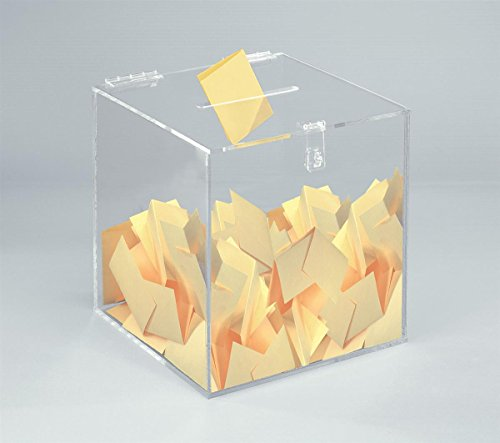 12-inch Clear Acrylic Ballot Box Cube with Hinged Lid, for Countertop Use (Acrylic Box With Lid compare prices)