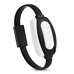 Mobilegear 3-in-1 Lightning USB Cable Bracelet Charger & Data Sync Wristband With Cigratte Lighter For Apple iPhone - Black