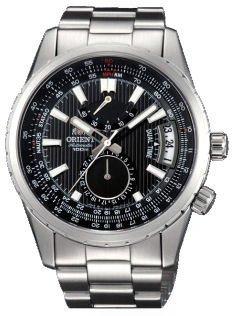 Orient # DH01002B Voyager da uomo in acciaio inossidabile quadrante nero orologio automatico Dual Time Riserva di carica
