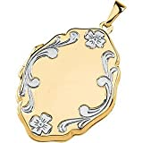 14k Yellow Gold Locket Embossed with 14k White Gold Flowers Reviews