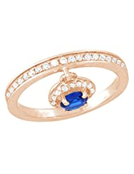 Pink Gold Plated Pure 925 Sterling Silver Simulated Sapphire Pendant Ring