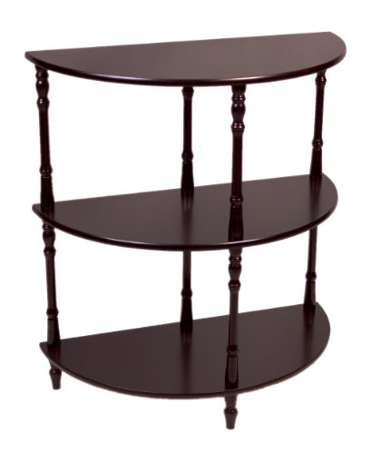 frenchi home furnishing wood 3 tier crescent half moon hall console tableend table in expreso. Black Bedroom Furniture Sets. Home Design Ideas