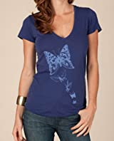 Women's V-Neck Butterfly Tee (Violet)